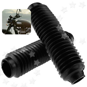 2x Universal Motorcycle Rubber Front Fork Dust Cover Gaiters Gators Boots