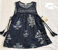 Navy Blue Sleeveless Top With Floral Medallion Print Sz S NWT
