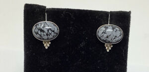 Desert Rose Trading Sterling Silver Marbled Black and White Stone Post Earrings