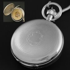 Luxury Double Hunter Silver Steel Hand Wind Up Mechanical Pocket Watch FOB Chain