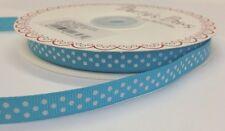 3 M Bertie's Bows Turquesa Con Blanco Polka Dot 9 mm cinta de grogrén, Envoltura De Regalo
