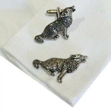 Howling Wolf High Quality Cufflinks Silver Pewter Handmade in England