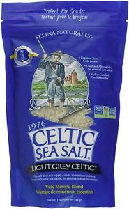 Light Grey Celtic Sea Salt 1 Pound Resealable Bag – Additive-Free, Delicious