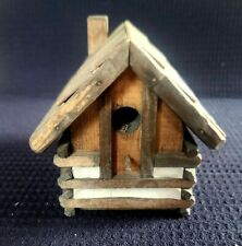 New listing Vintage Log Cabin Bird House With Chimney Rustic Farmhouse Summer Camping