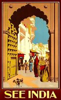 """Vintage Illustrated Travel Poster CANVAS PRINT See India Street life 2 24""""X16"""""""
