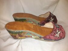 Wwii Vintage Hand Carved Wooden Wedge Shoes Philippines Palm Trees Hut