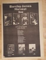Barclay James Harvest  tour 1975 press advert Full page 28x 39 cm poster