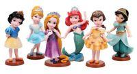 Lovely Princesses Figures Figurines Cake Doll 6 Characters Belle Jasmine Mermaid