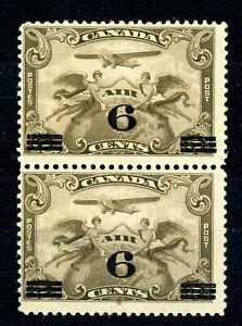 Weeda Canada C3 F MNH pair, 6c on 5c brown olive 1932 Airmail CV $18