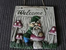 WELCOME GARDEN GNOME CEMENT WALL PLAQUE
