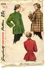 Vintage 1940s Simplicity Sewing Pattern Women's COAT JACKET 2949 Size 14 UNCUT