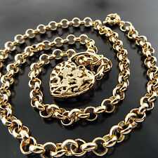 A641 GENUINE REAL 18K YELLOW G/F GOLD SOLID PADLOCK HEART PENDANT NECKLACE CHAIN