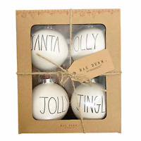 Rae Dunn Christmas Ornaments Set of 4 SANTA JOLLY HOLLY JINGLE White 2020 NEW!
