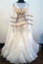 B7181 Ballroom standard Waltz Tango Rhythm us 8 Dance Dress white
