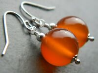 Large Carnelian Gemstones & 925 Sterling Silver Drop Elegant Handmade Earrings