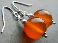 Large Carnelian Gemstones & 925 Sterling Silver Drop Elegant Handmade Earrings