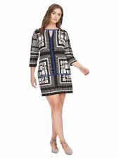 SANGRIA Pop Of Blue Keyhole Shift Dress Monochrome Print Contrasting Trim 16W XL