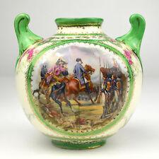 Antique Crown Thun Factory Porcelain Vase Napoleon Bataille a' Jena Czech Green