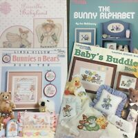 Lot of 4 rabbit bunny baby cross stitch chart booklets Alphabet Bunnies & Bears
