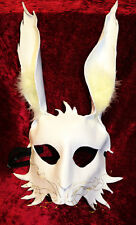 Fluffy White Rabbit Bunny Mask Handmade Real Leather Venetian Masquerade