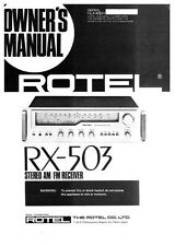Rotel RX-503 Receiver Owners Instruction Manual