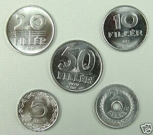 Hungary coins set of 5 pieces 1963-1992 UNC
