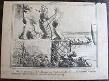 DAUMIER, LITHOGRAPHIE ORIGINALE, CROQUIS D'ETE N°13 / NAVIGATEURS