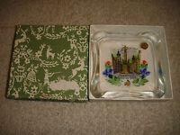Vintage Innsbruck Tirol Glass Painted Ashtray With Box Eingebrannt Handgemalt