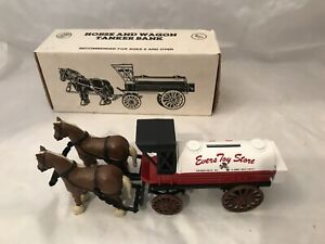 NEW ERTL Evers Toy Store Horse Drawn Wagon  Tanker Bank Die Cast