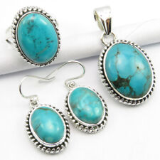 "#7 Pendant 1.4"" Earrings 1.1"" Set 925 Solid Sterling Silver Rare Turquoise Ring"