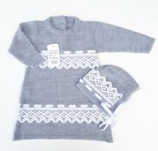 Spanish Baby Girls Knitted Dress & Bonnet Set Romany Grey size 3 - 6 months