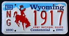 """WYOMING """" ARMY NATIONAL GUARD """" CENTENNIAL """" WY Military Specialty License Plate"""