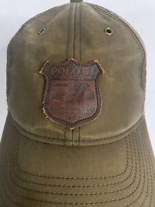 Rare Polo Ralph Lauren RL Guide Leather Patch Strapback Hat Cap 1967. Oil Cloth