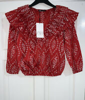 ZARA SS20 RED CUTWORK EMBROIDERED PUFF SLEEVES BLOUSE V-NECK SIZE S BNWT