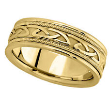 Hand Made Celtic Wedding Ring Band 14k Yellow Gold 6mm
