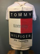 Vtg 1990s 90s Tommy Hilfiger Baja Backpack Spellout Logo Pouch Beach Tote Bag