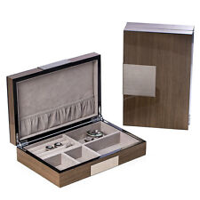 """Lacquered """"Ash"""" Wood Valet Box with Stainless Steel Accents & Multi Compartments"""