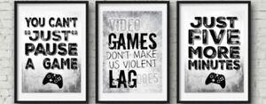 Xbox Set Of Three Prints Grey Gamer Boys Bedroom Decor Home Console A4