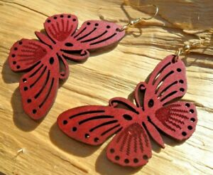 Butterfly Cutout Wooden Red/Brown Dangle Hook Earrings 6cms x 3cms NEW