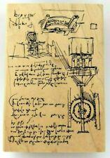 Rare Inventor's MECHANICAL Diagram Sketch & Notes JudiKins 2434H Rubber Stamp