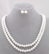 2 Layer Pearl Necklace Earrings Set Silver Fashion Jewelry NEW