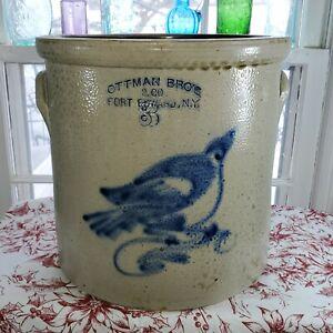 "STUNNING Antique Salt Glazed Stoneware ""OTTMAN BROS. CO. FT. EDWARD"" Crock"
