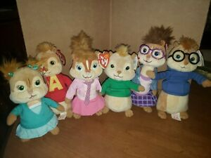 Ty Beanie Babies Alvin & Chipmunks Set of 6 All Tagged!
