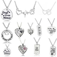 925 Silver Women Necklace Puppy Dog Cat Paw Heart Charm Pendant Pet Lover Gifts