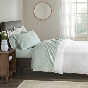 Luxury 4pc Seafoam Green 400TC Wrinkle Resistant Cotton Sateen Sheet Set - QUEEN