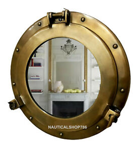 "Antique Brass 15"" Porthole Nautical Maritime Ship Boat Wall Mirror Home Decor"