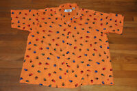 VTG 80s 90s PUNK Neon Orange Sahara Club Rayon surfer geometric shapes shirt L