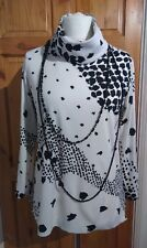 Vtg 80s 90s Mono Artsy Roll Neck Long Line top Large UK 12 14 16 semi fit 60s