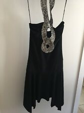 Black Evening Dress Lycra Size Small With Bling Halter