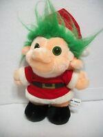"""Chosun Trolio Trolls 1992 Plush Christmas Santa Troll Doll 9"""" Green Eyes Hair"""